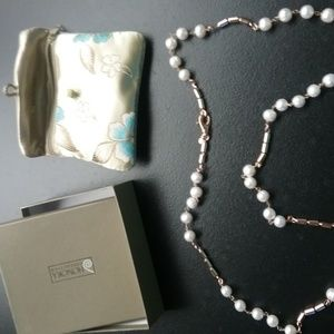 """Cultured  Pearl 9.0mm 36"""" Bronze Station Necklace"""